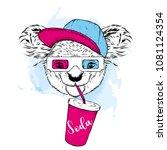 koala in 3d glasses and a glass ... | Shutterstock .eps vector #1081124354