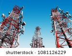 telecommunication towers with... | Shutterstock . vector #1081126229
