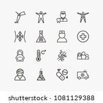 medicine icon set and lab with... | Shutterstock .eps vector #1081129388