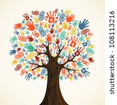 isolated diversity tree hands... | Shutterstock .eps vector #108113216