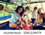 friends taking a selfie | Shutterstock . vector #1081134479