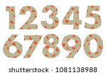 arabic numerals  painted with a ... | Shutterstock .eps vector #1081138988