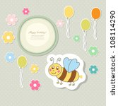 retro cute art sweet kid pink... | Shutterstock .eps vector #108114290