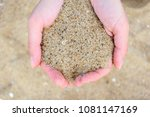 sand in woman hands on beach | Shutterstock . vector #1081147169