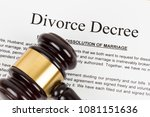 wooden judge gavel and divorce... | Shutterstock . vector #1081151636