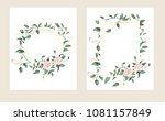 set of card with flower rose ... | Shutterstock .eps vector #1081157849