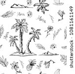 trendy seamless island  floral...   Shutterstock .eps vector #1081161149
