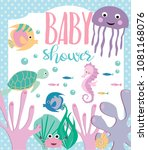 baby shower card with cartoon... | Shutterstock .eps vector #1081168076