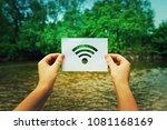 woman hands holding a paper... | Shutterstock . vector #1081168169