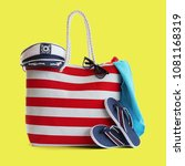 red stripe beach bag and other... | Shutterstock . vector #1081168319