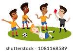 cartoon football referee... | Shutterstock .eps vector #1081168589