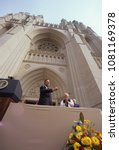Small photo of Washington DC. USA, September 29,1990 President George H.W. Bush presides over the final stone being laid in place at the National Cathedral of St. Peter and St. Paul