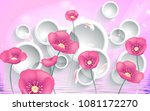 3d pink flowers on white... | Shutterstock . vector #1081172270