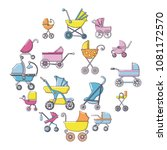 baby carriage icons set....   Shutterstock .eps vector #1081172570
