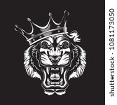 tiger angry face tattoo. vector ...   Shutterstock .eps vector #1081173050