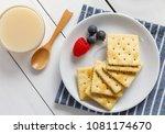 crackers with condensed milk... | Shutterstock . vector #1081174670