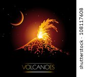 volcano erupting and spewing... | Shutterstock .eps vector #108117608