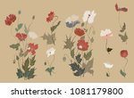 traditional japanese poppies... | Shutterstock .eps vector #1081179800
