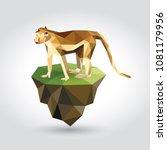 low polygon flying grass island ... | Shutterstock .eps vector #1081179956