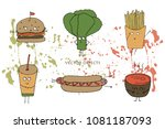 vector illustration. funny... | Shutterstock .eps vector #1081187093