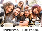 friends taking selfie at bar... | Shutterstock . vector #1081190606