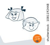 vintage style clip art   girl... | Shutterstock .eps vector #1081192448