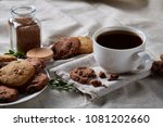 coffee cup  jar with coffee...   Shutterstock . vector #1081202660