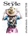 hand drawn stylish woman in hat....   Shutterstock .eps vector #1081207538