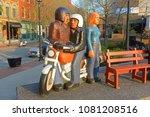 Small photo of SAINT JOHN, NB, CANADA - MAY 20, 2016: People Waiting Sculptures by John Hooper in downtown Saint John, New Brunswick, Canada.
