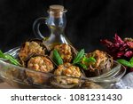 stuffed artichokes on a plate... | Shutterstock . vector #1081231430