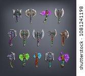 set of fantasy battle axes... | Shutterstock .eps vector #1081241198