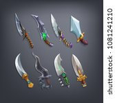 set of fantasy knifes and...   Shutterstock .eps vector #1081241210