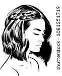 young woman with short waves... | Shutterstock .eps vector #1081251719