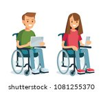 young people with wheelchairs... | Shutterstock .eps vector #1081255370