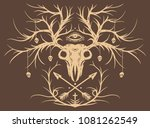 whitetail buck skull with... | Shutterstock .eps vector #1081262549