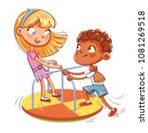 girl and boy ride on small... | Shutterstock .eps vector #1081269518