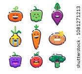 set of cute smiley vegetables.... | Shutterstock .eps vector #1081271213