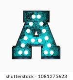 fluorescent blue neon font.... | Shutterstock . vector #1081275623
