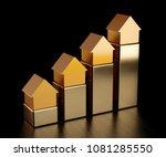 house golden bars chart graph.... | Shutterstock . vector #1081285550