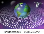 ring made of binary code around Earth and satellite above it / digital information technology - stock photo