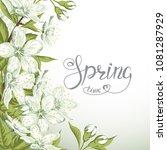 blooming branch of sakura and... | Shutterstock . vector #1081287929