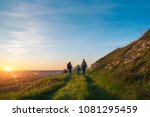 family trip with backpacks ... | Shutterstock . vector #1081295459