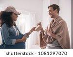 thank you. joyful positive man... | Shutterstock . vector #1081297070