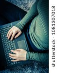 girls hands on laptop keyboard  ...   Shutterstock . vector #1081307018
