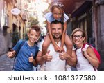 tourism. family having fun... | Shutterstock . vector #1081327580