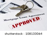 Real Estate Mortgage Approved Loan Document With House Keys - stock photo