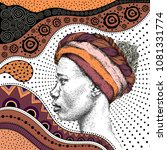 girl in turban with african... | Shutterstock .eps vector #1081331774