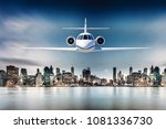3d luxury private jet in the sky | Shutterstock . vector #1081336730