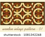 wood art inlay tile  geometric... | Shutterstock .eps vector #1081342268