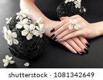 black and silver manicure with... | Shutterstock . vector #1081342649